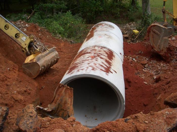 Laying of sewer lines