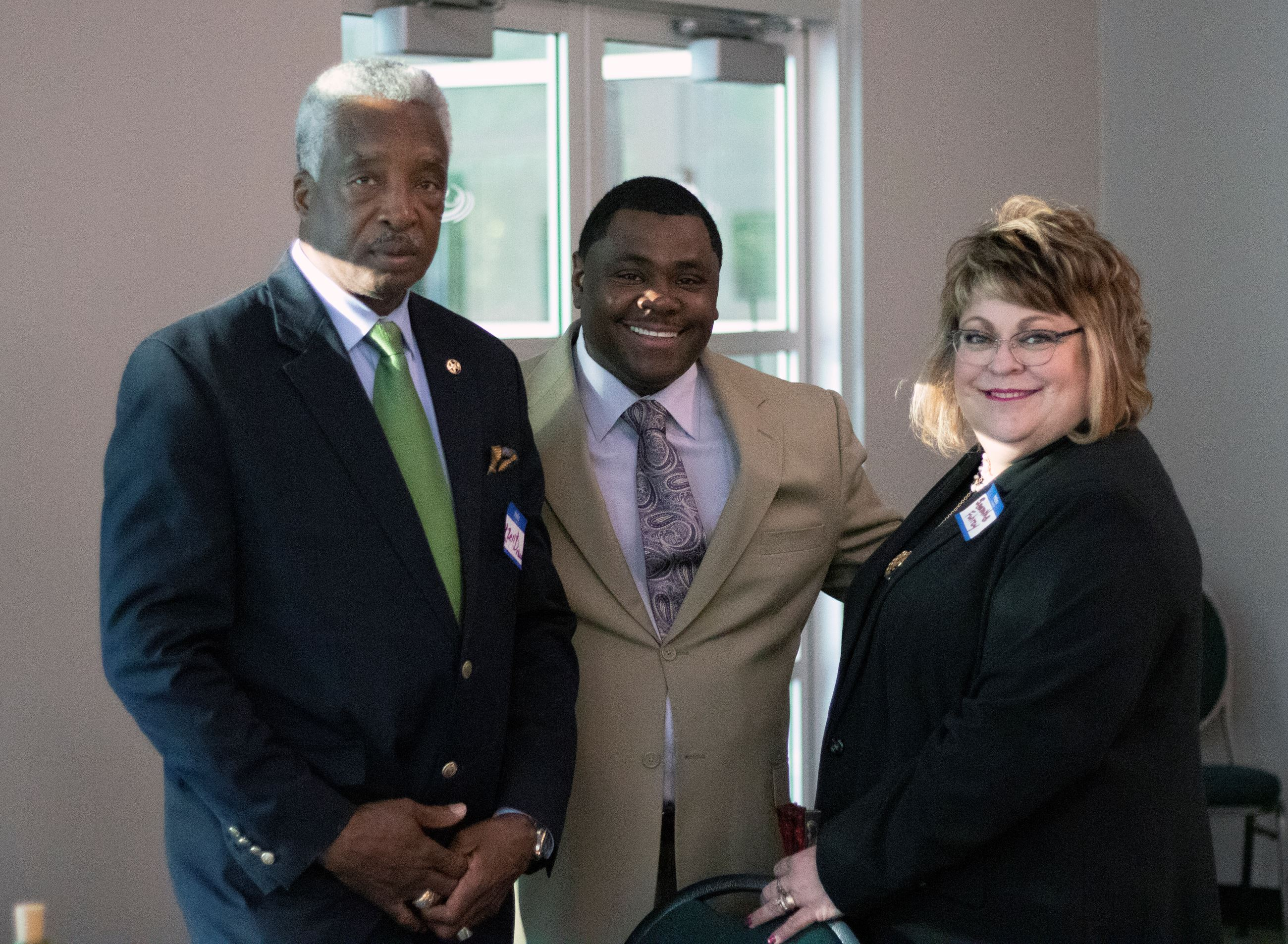Image of Sheriff Ezell Brown, Chairman Marcello Banes and Superintendent Samantha Fuhrey